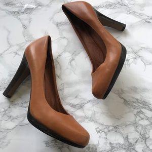 Halogen brown leather platform heels